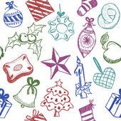 Griffonnages de symboles de Noël — Vecteur