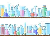 Seamless pattern laboratory glass — Stock Vector