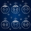 Christmas decorations  - chalk balls  faces — Stock Vector