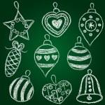 Christmas decorations - chalk on schoolboard — Stock Vector #14616953