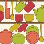 Kitchen utensils on shelves - seamless pattern — Stock Vector
