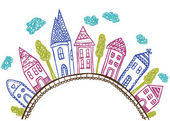Houses on hill - doodle illustration — Vettoriale Stock
