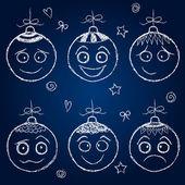 Christmas decorations - chalk balls faces — Stock Vector