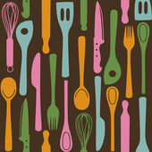 Kitchen utensils - seamless pattern — Stock Vector
