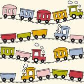 Tren ve raylar - dikişsiz desen — Stok Vektör