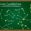 Stock Vector: Winter Constellations on chalkboard