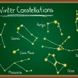 Winter Constellations on chalkboard - Stock Vector