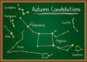 Autumn Constellations on chalkboard — Stock Vector