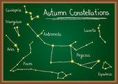 Autumn Constellations on chalkboard — Stock Vector