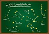 Winter Constellations on chalkboard — Stock Vector