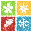 Stock Vector: Four seasons doodle icons