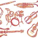 Music instruments doodles — Stock Vector