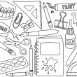 School supplies drawings — Vector de stock