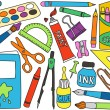 Vector de stock : School supplies drawings