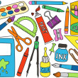 ストックベクタ: School supplies drawings