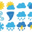 Weather doodle icons — Stock Vector