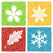 Four seasons doodle icons — Stock Vector