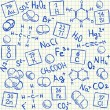 Stock Vector: Chemical doodles on school squared paper