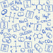 Chemical doodles on school squared paper — Stock Vector