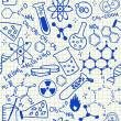 Chemical doodles seamless pattern — Stock Vector