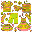 Royalty-Free Stock Vector Image: Children clothes doodles