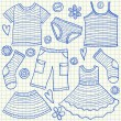 Children clothes doodles — Stock Vector