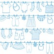 Children clothes on clothesline — Stock Vector