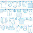 Stock Vector: Children clothes on clothesline