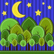Stock Vector: Forest at night
