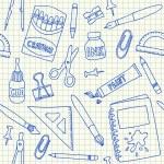 School supplies seamless pattern — Stock Vector