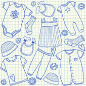 Baby clothes doodles — Stock Vector
