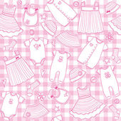 Baby girl clothes seamless pattern — Stock Vector