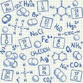 Chemische kritzeleien auf papier kariert schule — Stockvektor
