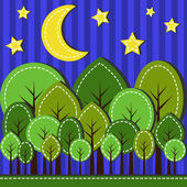 Forest at night — Stock Vector