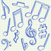 Musical notes doodles — Stock Vector
