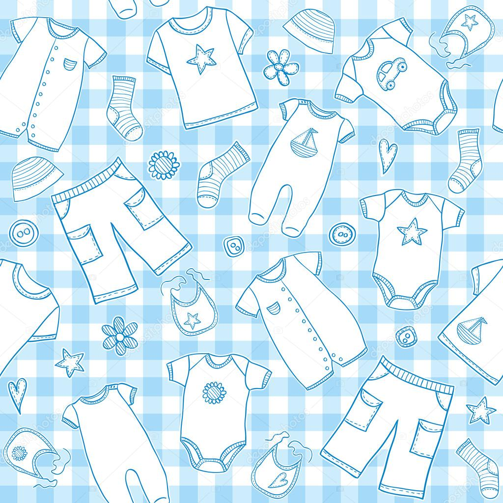 Baby boy clothes seamless pattern - Stock IllustrationBaby Boy Patterns
