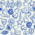 Social media seamless pattern — Stock Vector