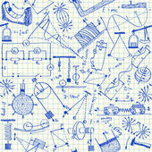 Fisica doodles seamless pattern — Vettoriale Stock