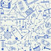 物理学のいたずら書きのシームレスなパターン — ストックベクタ
