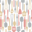 Stock Vector: Kitchen utensils seamless pattern