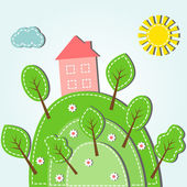 Hilly landscape with house — Stock Vector