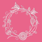 Flower circle doodle — Vector de stock