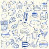 Breakfast doodles — Stock Vector