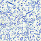 Pizza doodles seamless pattern — Stock Vector