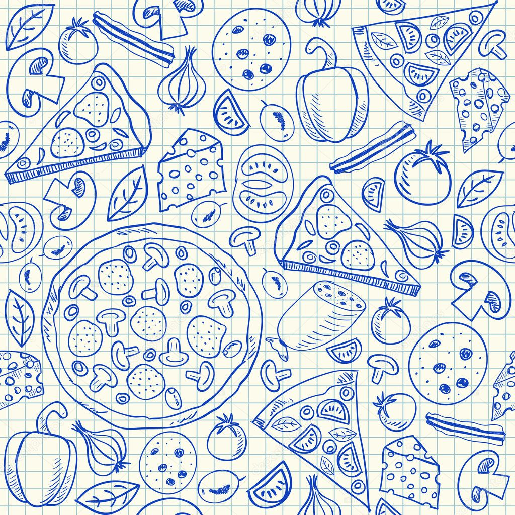 Download - Pizza doodles seamless pattern — Stock Illustration ...