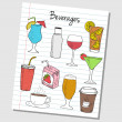 Stock Vector: Beverages doodles - lined paper