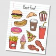 Stock Vector: Fast food doodles - lined paper