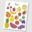 Stock Vector: Fruit doodles - lined paper