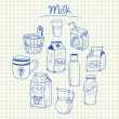 Milk doodles - squared paper — Stock Vector