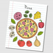 Stock Vector: Pizzdoodles - lined paper